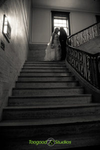 silhouette stairway wedding photo