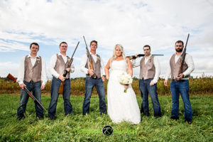 Bride & the Groomsman with Rifles